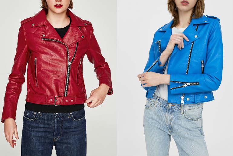 cu ce ma imbrac, jacheta de piele, geaca de piele, rosu, turquaz, bleu, albastru