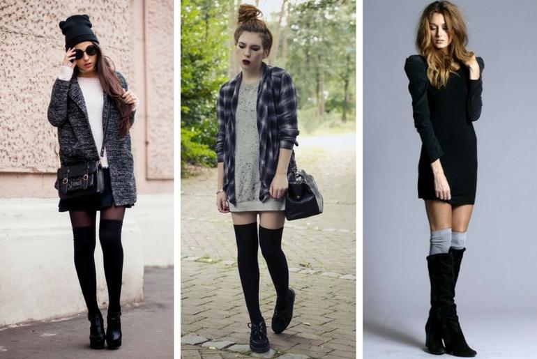 cu ce ma imbrac, cucemaimbrac, ciorapi peste genunchi, fusta, rochie tricotata, ghete, cizme, negru, gri
