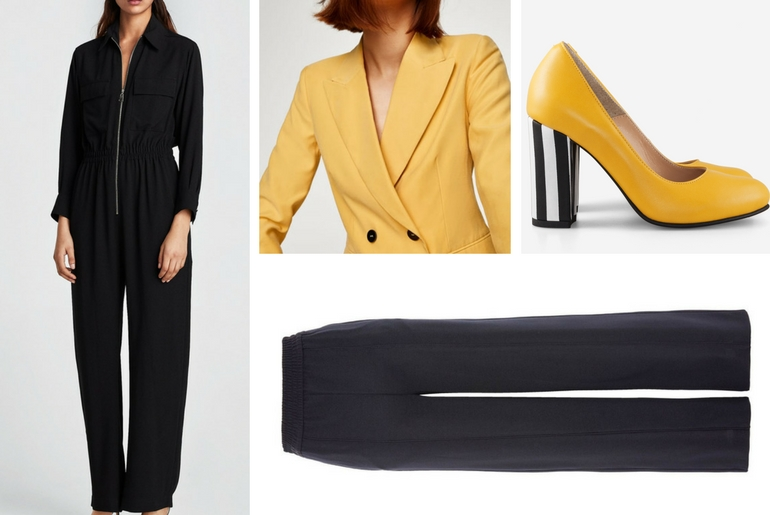 cu ce ma imbrac, cucemaimbrac, pantofi galben cu negru, pantofi office, pantofi fancy, tinuta casual, salopeta neagra, sacou galben, pantaloni negri