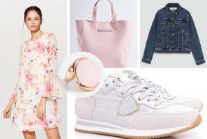 cu ce ma imbrac, cu ce ma imbrac, rochie cu flori, roz, geanta, inel, jacheta, blugi, denim, sneakers