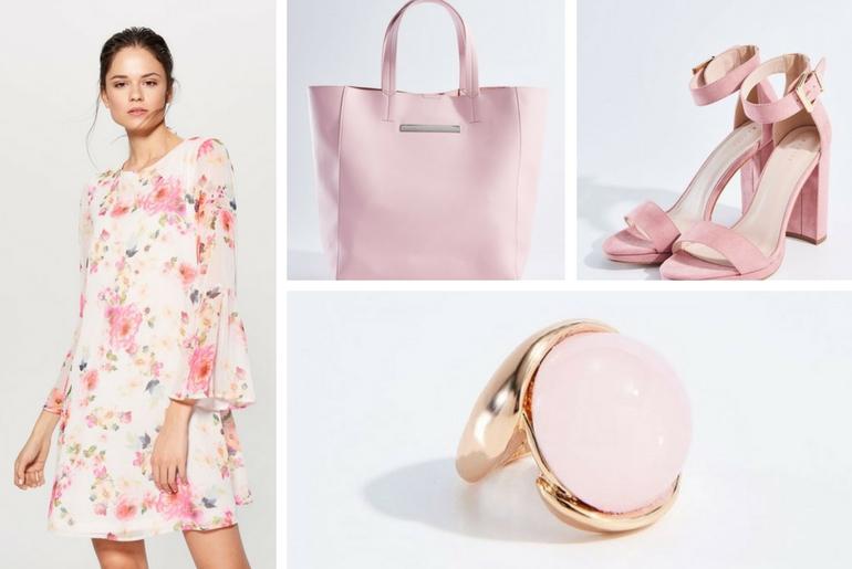 cu ce ma imbrac, cu ce ma imbrac, rochie cu flori, roz, geanta, sandale, inel